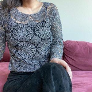 Vintage Silver Crotchet Sweater